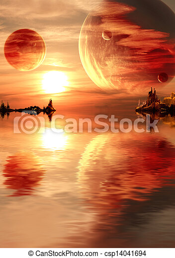 fantasie, ondergaande zon  - csp14041694