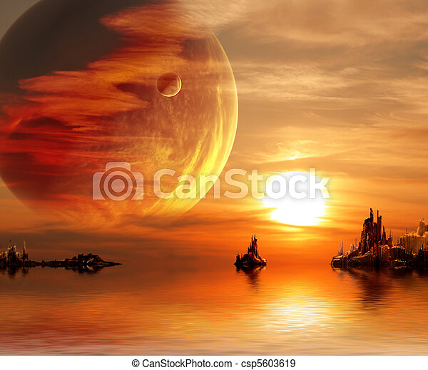 fantasie, ondergaande zon  - csp5603619