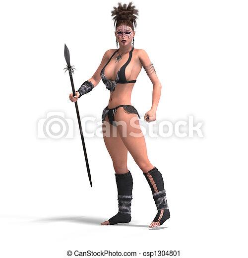 fantasie, vrouwlijk, barbaar - csp1304801