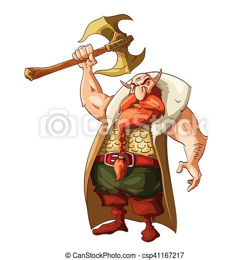 fantasie, zwerg, karikatur, krieger - csp41167217