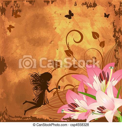 fantasien, fairy, blomst - csp4558328