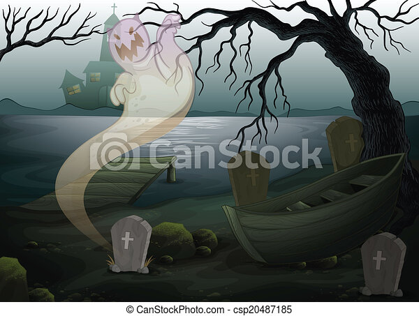 Un lugar aterrador con un fantasma - csp20487185