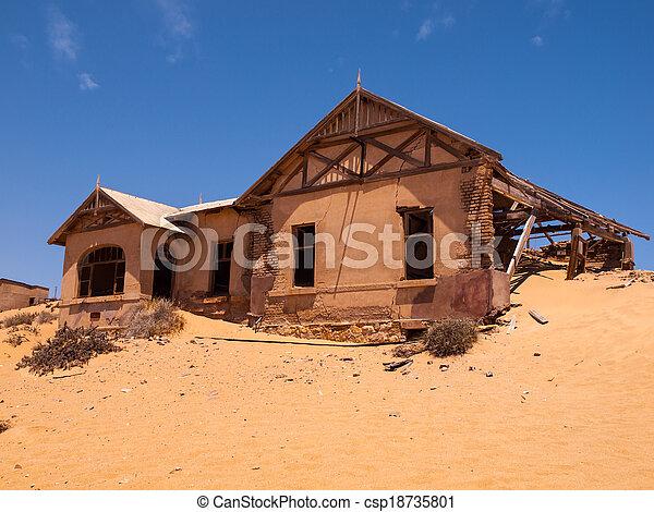 fantasma, casa, kolmanskop, abandonado, aldea - csp18735801