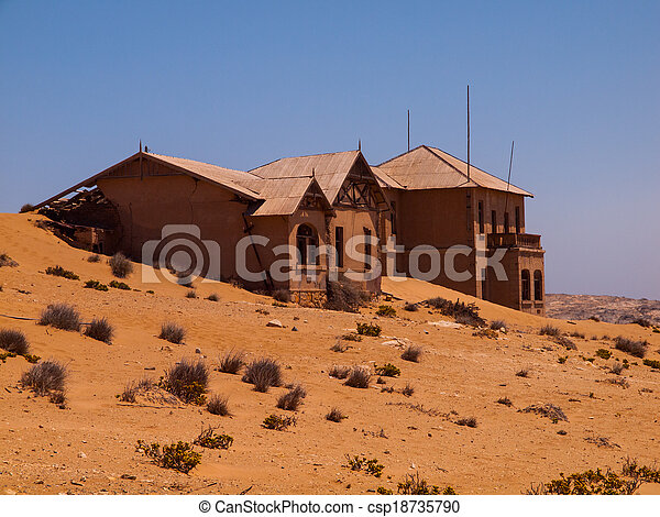 fantasma, casa, kolmanskop, abandonado, aldea - csp18735790