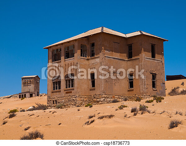 fantasma, casa, kolmanskop, abandonado, aldea - csp18736773