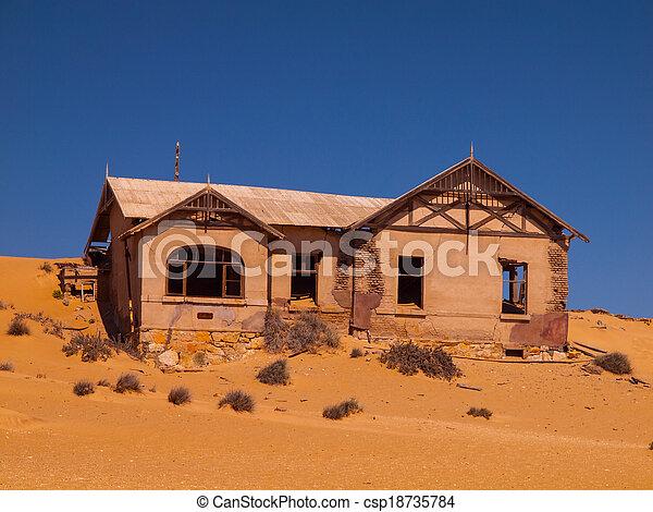 fantasma, casa, kolmanskop, abandonado, aldea - csp18735784