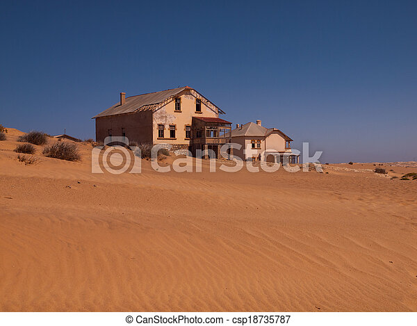fantasma, casa, kolmanskop, abandonado, aldea - csp18735787