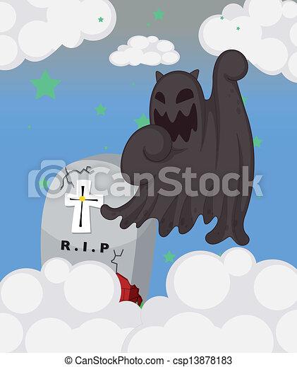 Un fantasma en el cementerio - csp13878183