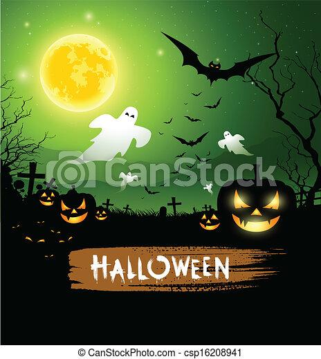 Fondo de diseño de fantasmas de Halloween - csp16208941