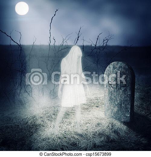La mujer blanca fantasma se queda en su tumba - csp15673899