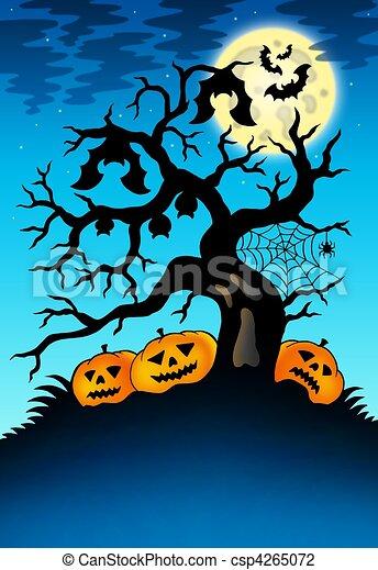 Árbol espeluznante con murciélagos y calabazas - csp4265072