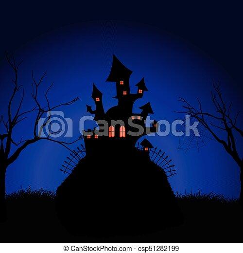 Trasfondo del castillo de Halloween 2909 - csp51282199