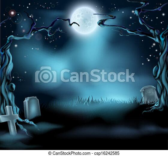 Espeluznante escena de fondo de Halloween - csp16242585