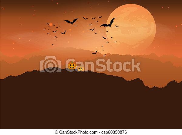 Calabaza de Halloween en el espeluznante paisaje 0808 - csp60350876