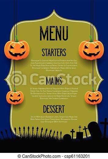 Espeluznante diseño del menú de Halloween - csp61163201