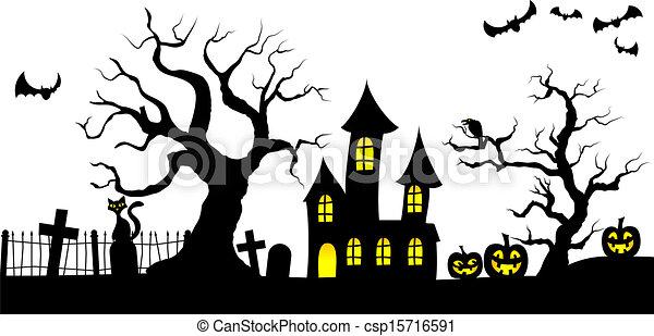 Curioso fondo de Halloween - csp15716591