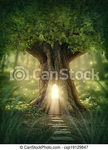 fantasme, maison, arbre - csp19129847