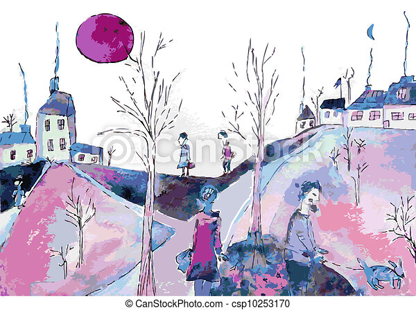Fantastic landscape with sad people and houses - csp10253170