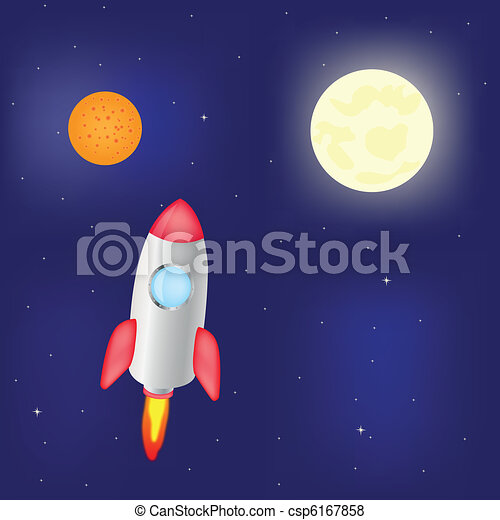 Fantastic rocket flies in cosmos - csp6167858
