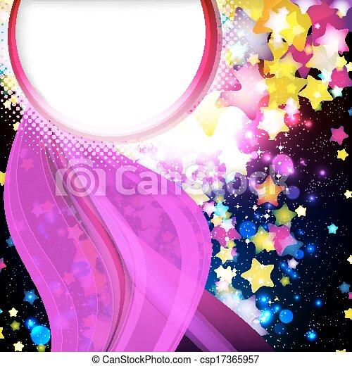 fantastique, illustration., coloré, voler, arrière-plan., clair, vecteur, conception, étoiles - csp17365957