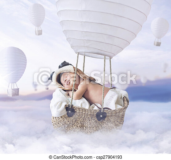 Fantasty image of little boy flying a balloon - csp27904193