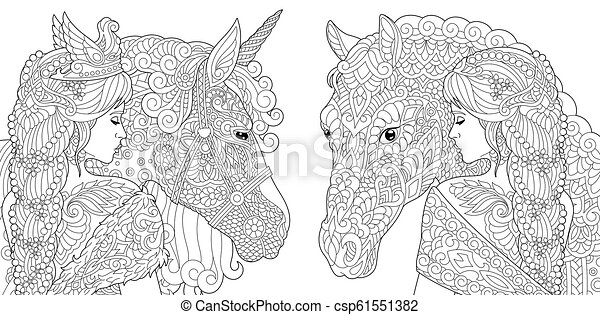 Fantasy coloring pages with beautiful women - csp61551382