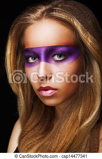 Fantasy. Coloring. Trendy Woman with Shiny Colorful Makeup. Faceart - csp14477341