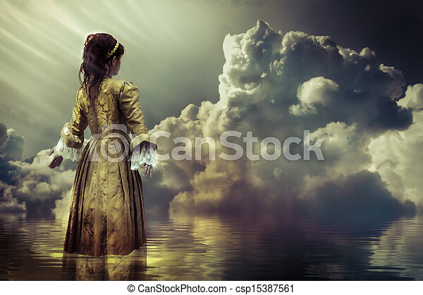 Fantasy concept. A sky of clouds reflected in a calm sea.  - csp15387561