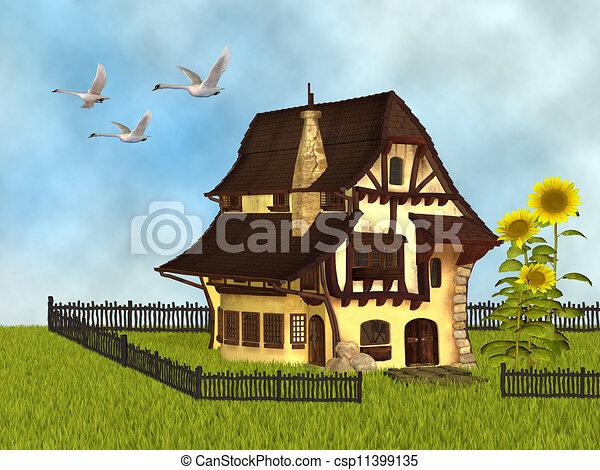 Fantasy Cottage Stock Illustration
