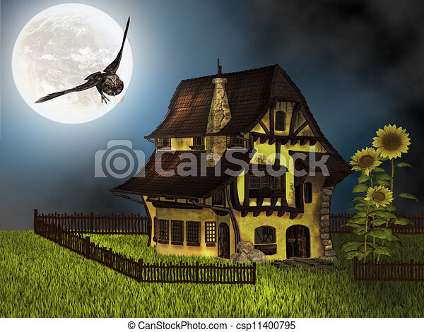 Fantasy Cottage In The Night Stock Illustration