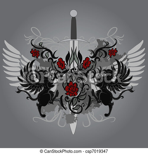 Fantasy design with gryphon, roses and sword - csp7019347