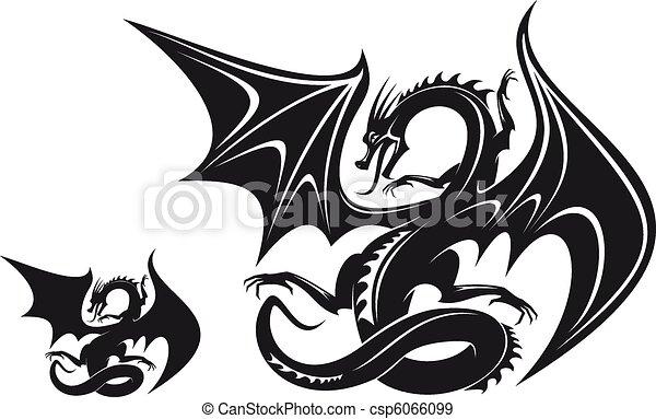 93f793c8b4183 Fantasy dragon. Isolated fantasy black dragon for tattoo design.