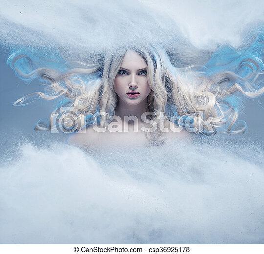 Fantasy expressive portrait of a blonde beauty - csp36925178