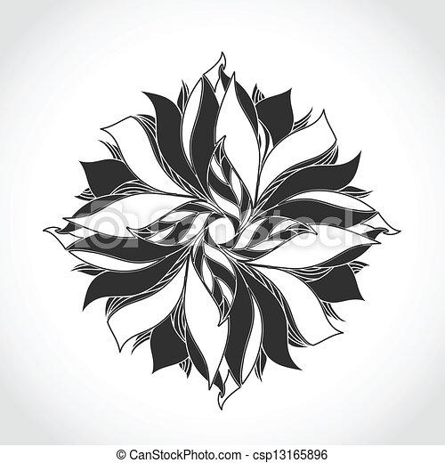 Fantasy Flower Black And White Tattoo Pattern