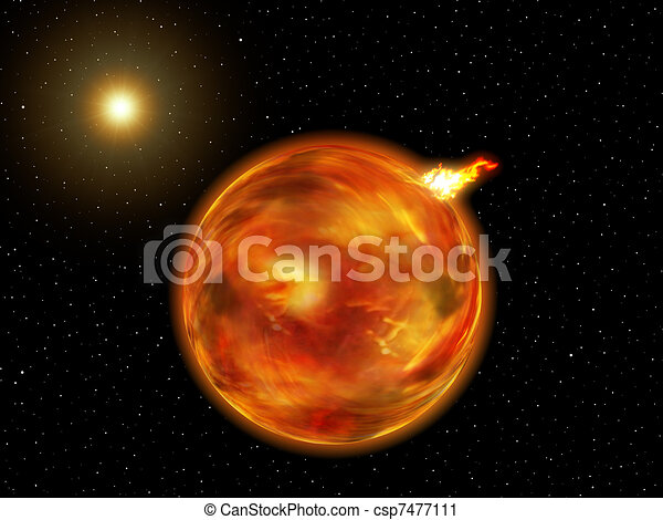 Fantasy Galaxy Planet of Fire - csp7477111