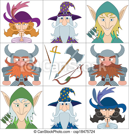 Fantasy heroes, set avatars - csp18475724