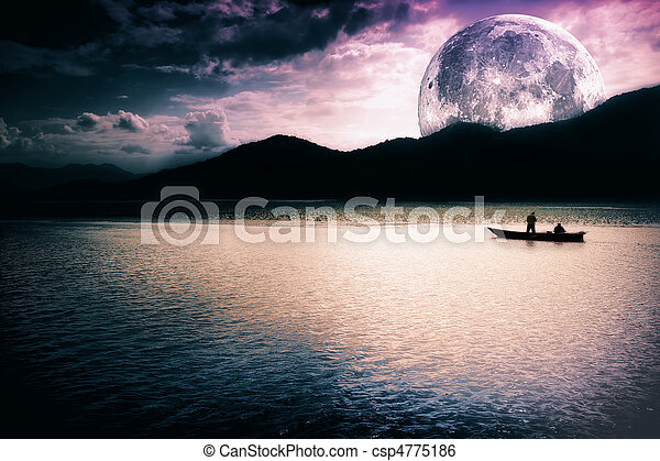 Fantasy landscape - moon, lake and boat - csp4775186