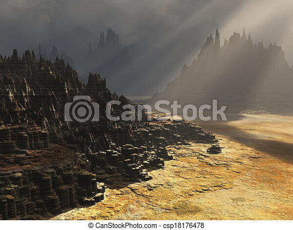 Fantasy landscape  - csp18176478
