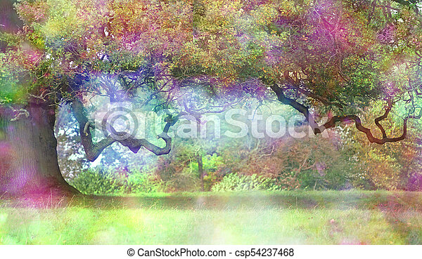 Fantasy Magical Colourful Oak Tree