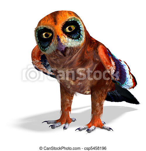 fantasy owl with rainbow colors. 3D rendering and shadow over white - csp5458196