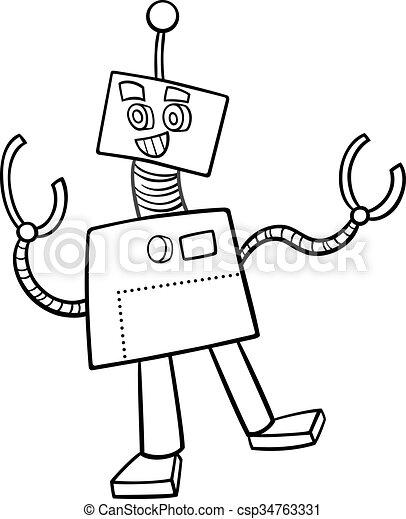 Fantasy robot coloring book. Black and white cartoon... vectors ...