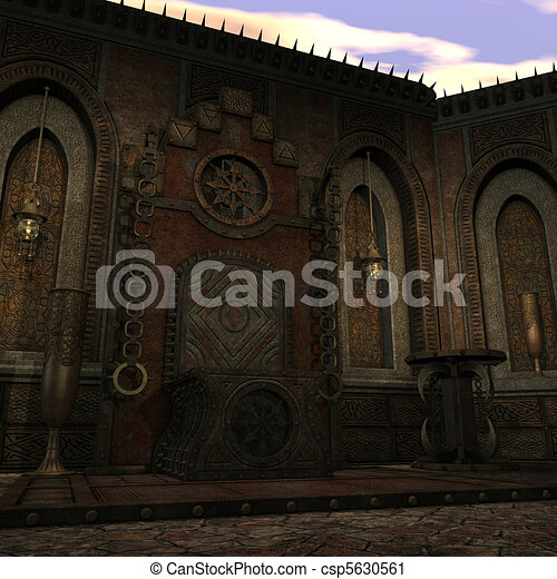fantasy temple at dawn. 3D rendering of a fantasy theme for background usage. - csp5630561
