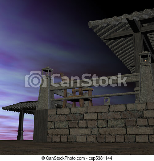fantasy temple at dawn. 3D rendering of a fantasy theme for background usage. - csp5381144