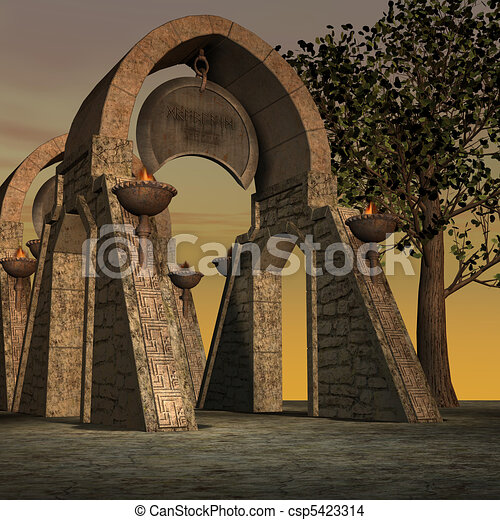 fantasy temple at dawn. 3D rendering of a fantasy theme for background usage. - csp5423314