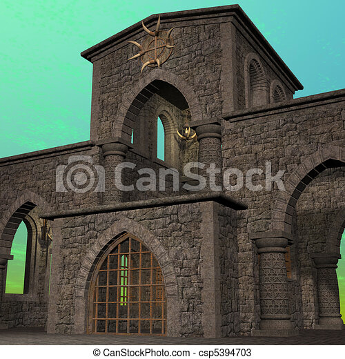 fantasy temple at dawn. 3D rendering of a fantasy theme for background usage. - csp5394703