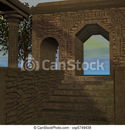 fantasy temple at dawn. 3D rendering of a fantasy theme for background usage. - csp5749439