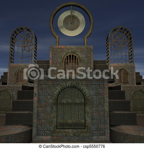 fantasy temple at dawn. 3D rendering of a fantasy theme for background usage. - csp5550776