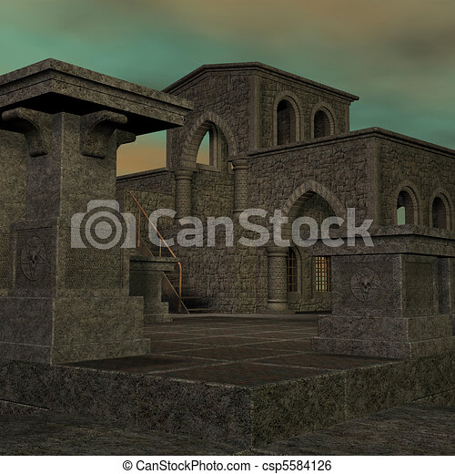 fantasy temple at dawn. 3D rendering of a fantasy theme for background usage. - csp5584126