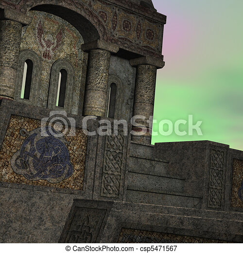 fantasy temple at dawn. 3D rendering of a fantasy theme for background usage. - csp5471567