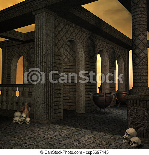 fantasy temple at dawn. 3D rendering of a fantasy theme for background usage. - csp5697445